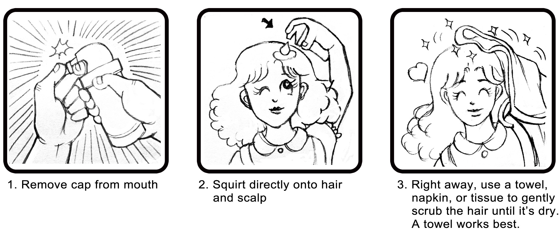 Faciano Dry Shampoo Instruction